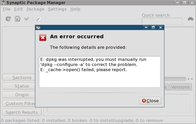 Cydia error manually Run dpkg